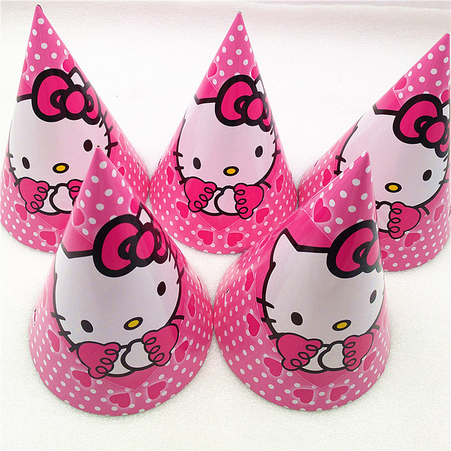 6pcs Hello Kitty Paper Hats Caps Party Supplies For Baby Shower Kids Girls Cartoon Birthday Decoration Festival Favors