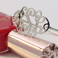 Wholesale Personalized Monogrammed Solid Silver Bangle Customized Hand Cut Out 3 Initial female Bracelet