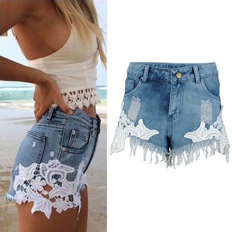 Danjeaner Shorts Women's Lace Denim Shorts Fashion Brand Vintage Tassel High Waist Shorts Punk Sexy Short Jeans Plus Size