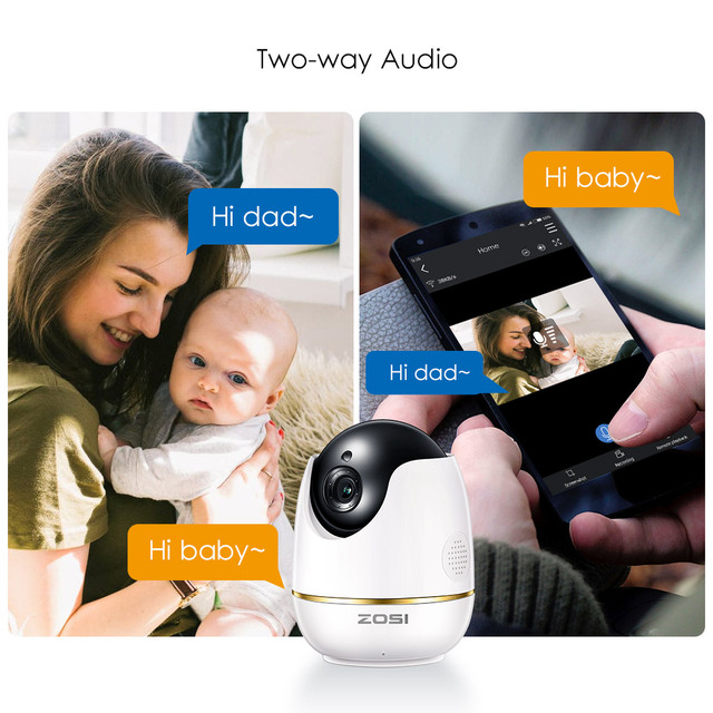 ZOSI 1080P HD Wifi Wireless Home Security IP Camera 2.0MP IR Network CCTV Surveillance Camera with Two-way Audio Baby Monitor 3