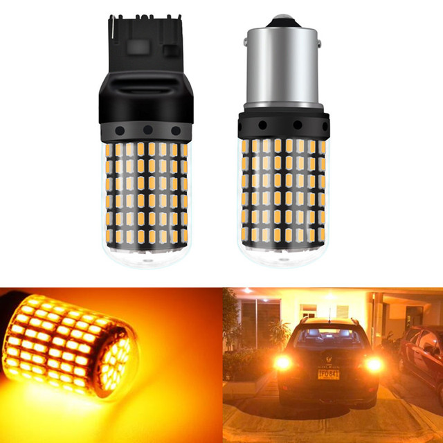 2PC Car 7440 LED No Hyper Flash Amber Yellow 114SMD LED T20 W21W 1156 7507 BAU15S LED Bulbs For Turn Signal Lights,Canbus