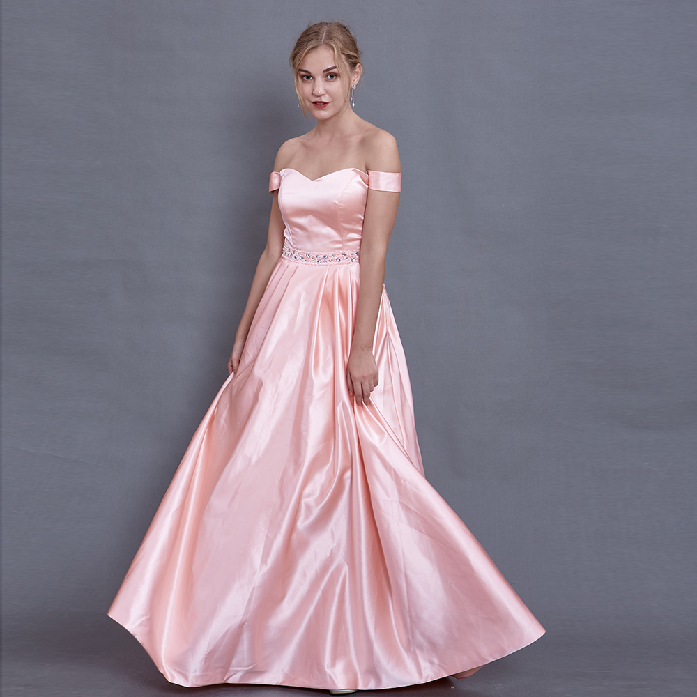 Pink Long   Prom     Dresses   2019 A-Line Off the Shoulder Beaded Boat Neck Evening Party   Dresses   Robe De Soiree Girl Gala   Dress