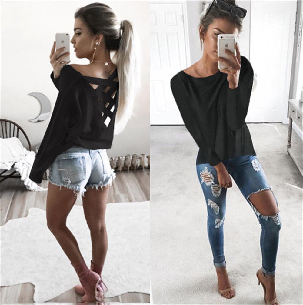 New Women's Loose Long Sleeve Top, Summer Back Cross T-Shirt, Casual, Cotton T-Shirt 7