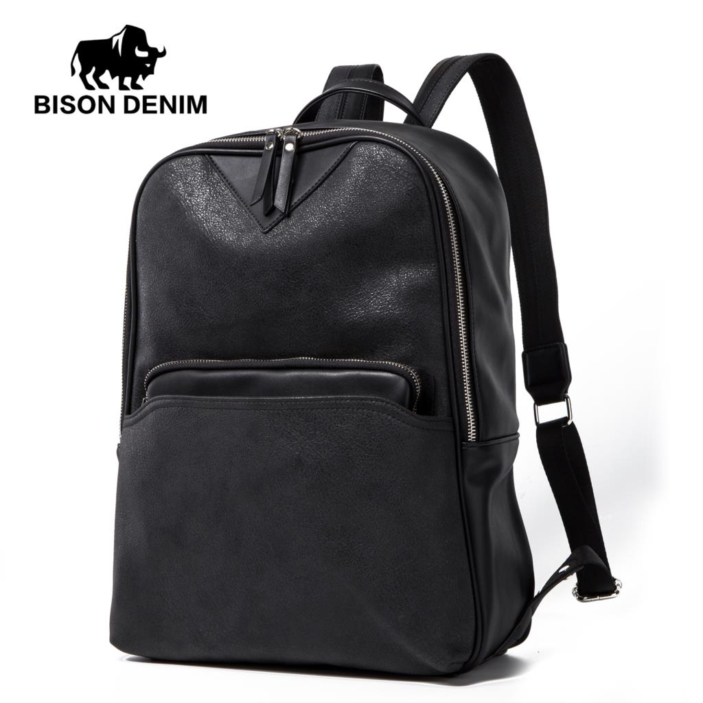 BISON DENIM Brand Men Backpack Leather Shool Bags For Teenager PU Travel Backpack Large Capacity Daypacks Backpack For Man N2854 fashionable pu leather backpack for men