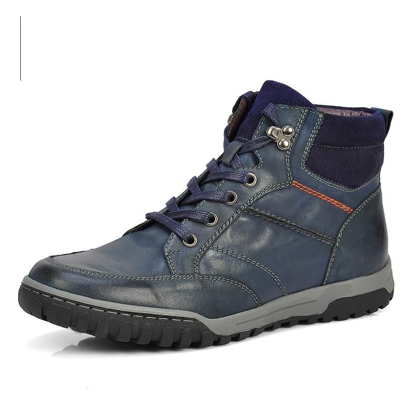 Más Zapatos Casuals up Botines Grandes Superior Invierno 28 Niza Botas Encaje ~ 76 Hombre Blue Cuero Ruso Tamaño Calidad Hombres coffee Vaca Estilo Rt7wq7g