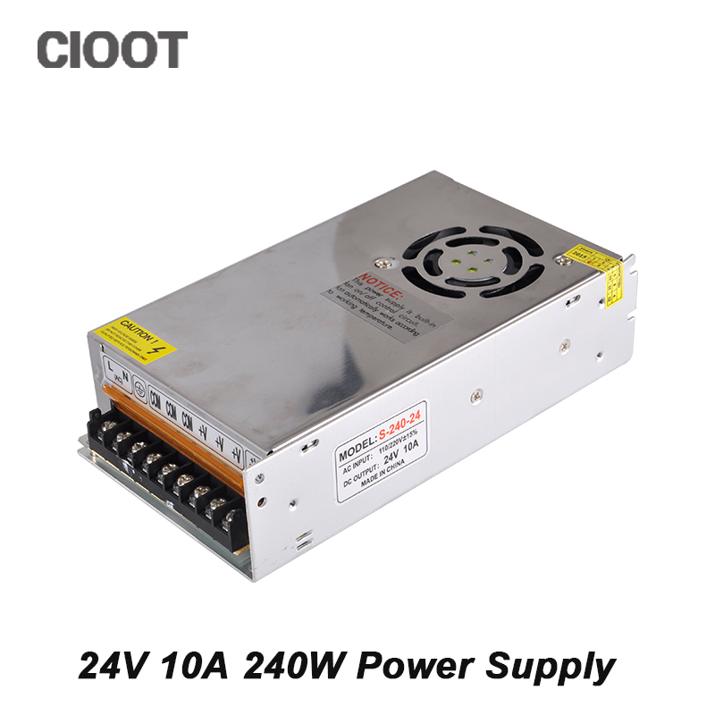 24V 10A 240W Power Supply Switching Driver For Strip Led AC 100-240V Input to DC 24V Power Transformer best quality 12v 15a 180w switching power supply driver for led strip ac 100 240v input to dc 12v