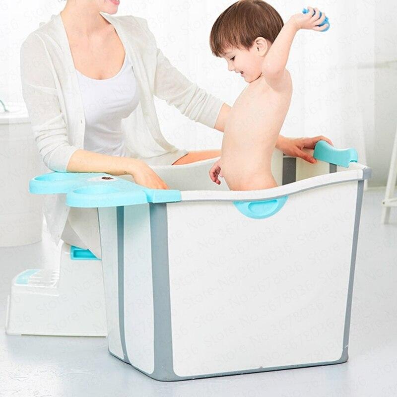Bain bébé pliable bain bébé enfant baignoire peut s'asseoir mentir natation grande taille ménage baignoire pliante
