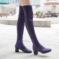 Women Streth Fabric Short Plush Thick Warm Thigh High Boots Fashion Winter Stovepipe High Heels Long