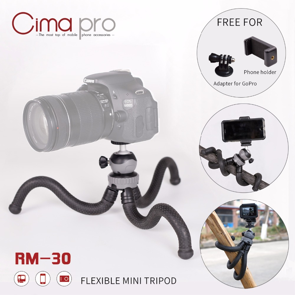 Cima pro RM-30 Travel Outdoor Mini Bracket Stand With Phone Clip Octopus Tripod For Digital Camera Smartphone GoPro