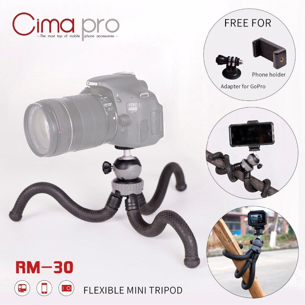Cima pro RM-30 Viagem Ao Ar Livre Mini Suporte Suporte Com Clipe de Telefone Octopus Tripé Para Câmera Digital GoPro Smartphones