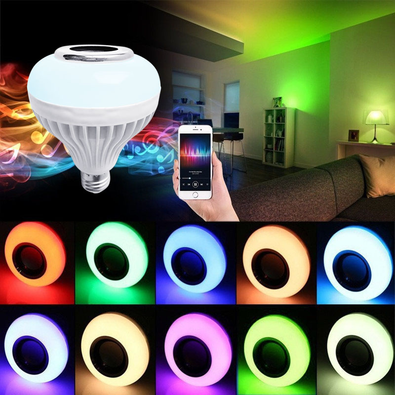 Smart LED RGB Wireless Lamp Bluetooth Speaker Bulb 12W Music Playing Indoor Light @8 JDH99