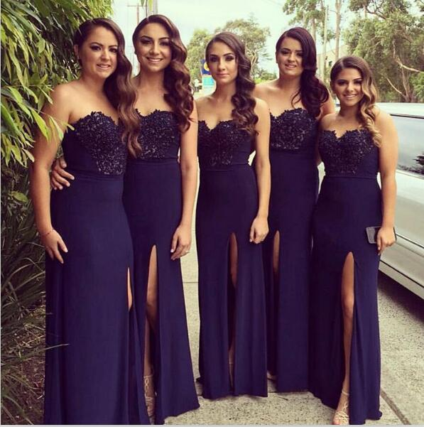 2019 Cheap   Bridesmaid     Dresses   Under 50 A-line Sweetheart Slit Lace Long Wedding Party   Dresses   For Women