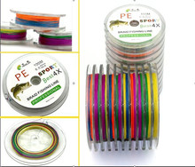 100 meters 4 series of colorful fish bite proof line vigorously horse braided line fishing halleluyah 4 strands of PE line