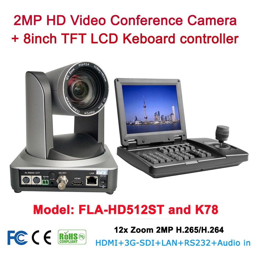Kit di attrezzature maglia di 12x zoom Ottico conferenza 1080p60fps HDMI SDI IP ptz della macchina fotografica Con 8 pollici TFT LCD rs232 RS485 ptz controller