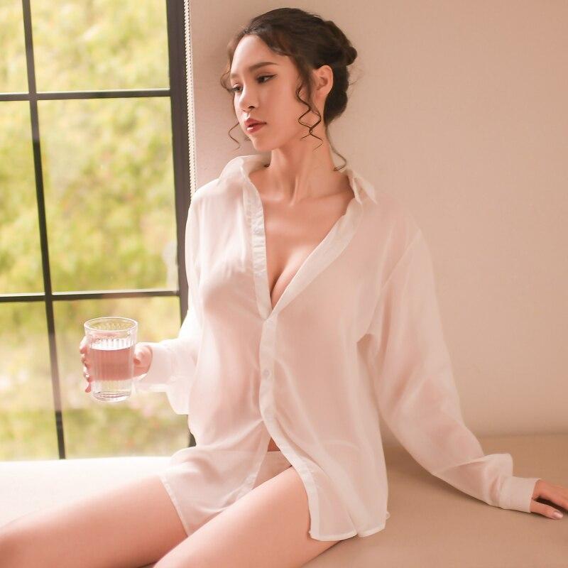 Sexy Pajamas Women's Long Summer White Shirt Large Size Home Service Thin Transparent Pajamas Set