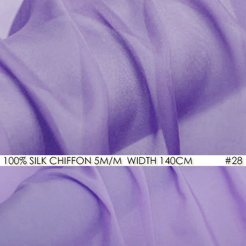 Branco de Tecido Chiffon de Seda Tecido para Vestido de Noiva Momme Largura cm 100% Natural Seda Gauz Violeta Púrpura No28 6 55 -140