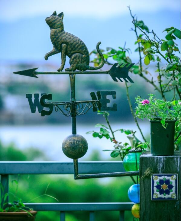 Cat Garden Style Weathervane Wrought Iron