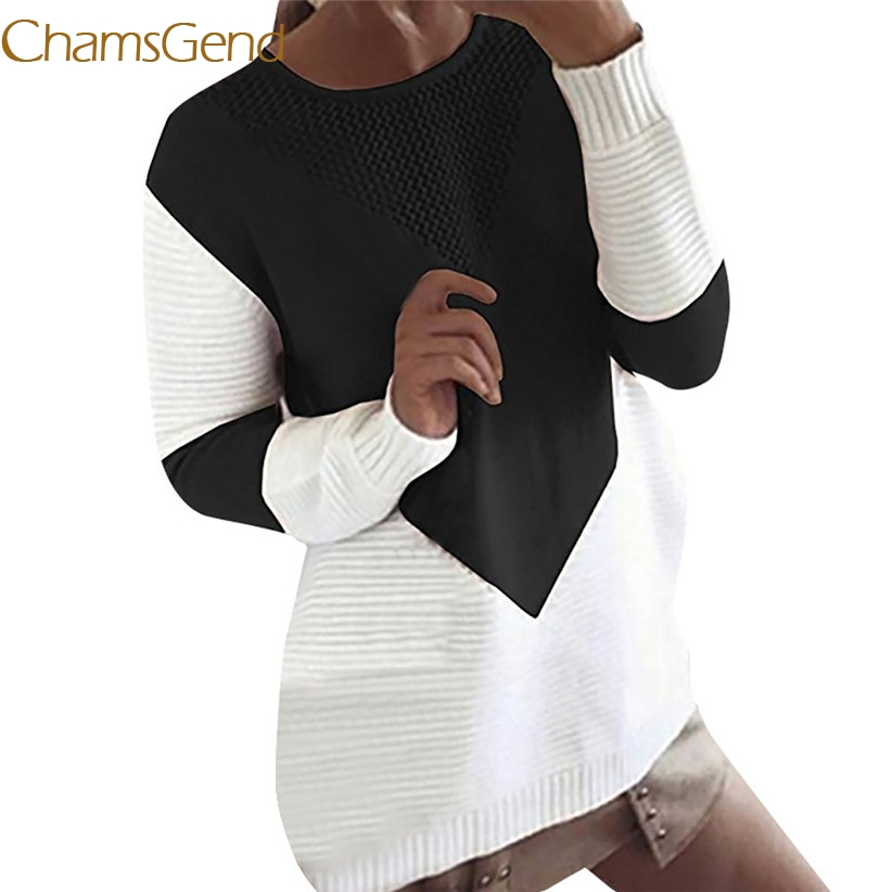 Chamsgend Newly Design Women Casual Autumn Winter Patchwork Sweater Crochet Knit Jumper Knitwear Drop Shipping 70925