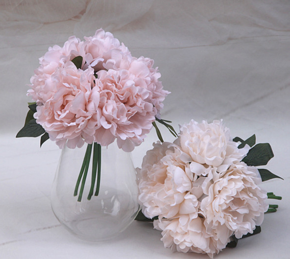 Peony holding flowers bouquets Artificial bride hand tie flowers 5pcs/dozen
