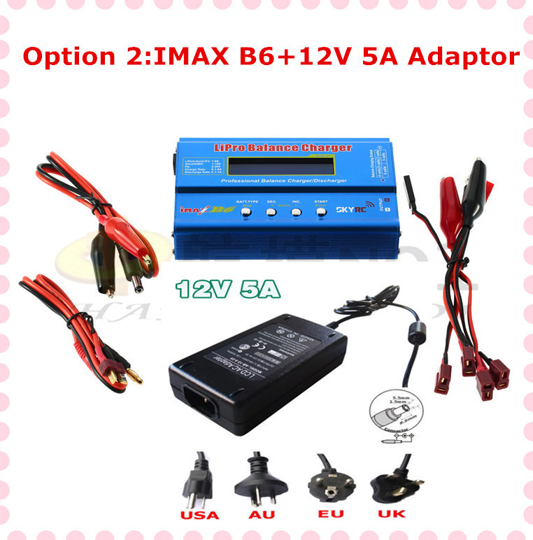 100% Original IMax B6 B6-AC 2s-6s Digital LCD Lipo NiMh battery Balance rc helicopter Charger I-maxb6+adaptor(option 2) P2