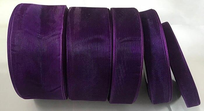Geinne 12 мм-50 мм шириной 50 ярдов/roll фиолетовый лента из органзы оптовая продажа подарочной упаковки рождественские ленты