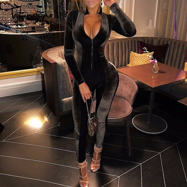 Tobinoone 2018 סתיו חורף ארוך Rompers Slim מלא סרבל נשים סקסי גולף Pleuche Bodysuits Bodycon קטיפה סרבלי