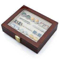 الفاخرة أزرار أكمام التعادل كليب صندوق مجوهرات عالية الجودة الخشب شاشة عرض صناديق أنيقة بني داكن حقيبة للتخزين