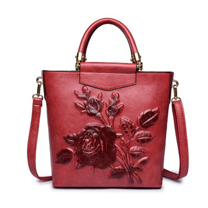 Luxury Handbags Women Leather Chinese Style Embossed Flower Shoulder Bags Designer Ladies Large Capacity A4 Paper Bag sac a main