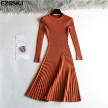elegant Long sleeve OL O-neck long Sweater dress women Thick knit Autumn Winter dress female Slim A-line basic dress casual