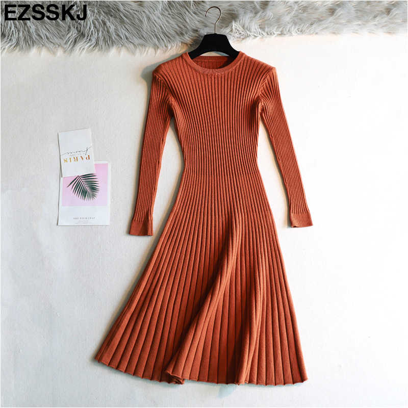 elegant Long sleeve OL O neck long Sweater dress women Thick knit Autumn Winter dress female Slim A line basic dress casual