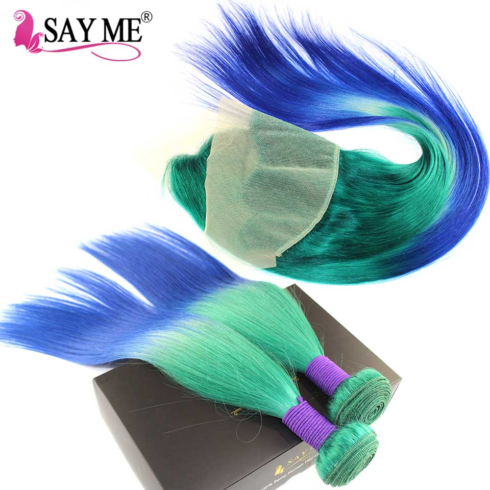 Human Hair Weaves Humor Ombre Brazilian Straight Hair Bundles With Frontal Closure 3/4 Remy Human Hair Bundles With Frontal Pre Plucked Green/blue Sayme Removing Obstruction