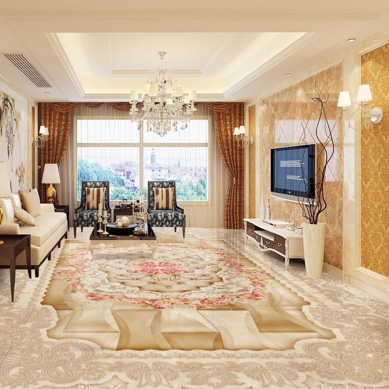 Free Shipping European Pattern Rose 3d Floor Waterproof Home Decoration Living Room Bathroom