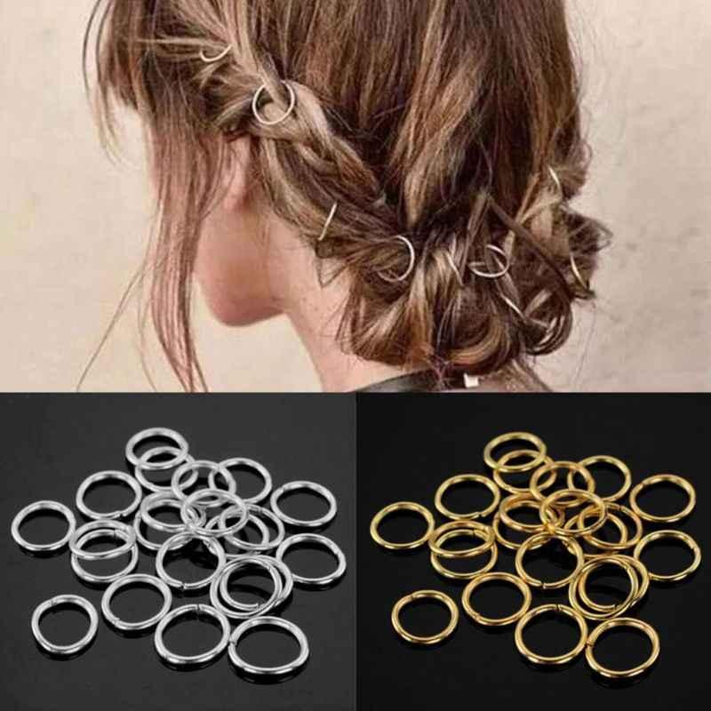 10 Pcs Golden Silver Hair Braid Dreadlock Bead Cuff Clip Braid Hoop Circle For Braid Hair Extension Accessories