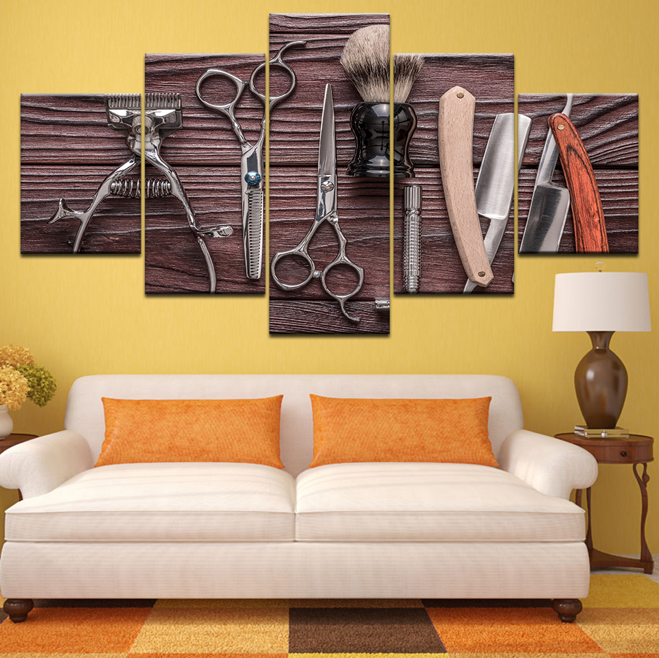 5 Panel Hairdressing Tools Scissors razor Beauty Styling Tool HD print Canvas Painting On Wall Art Picture barbershop Home Decor in Painting Calligraphy from Home Garden