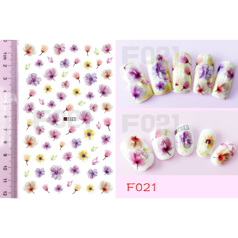 Nail Art 3D Simulation Adhesive Tape F Series Summer Watercolor Transparent Flower Casual DIY Tool