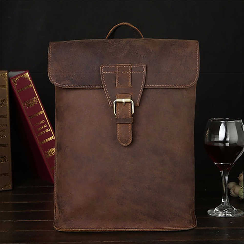 Top Quality Crazy Horse Cowhide Daypack Backpack Travel Book School Satchel Genuine Leather Men Women Knapsack