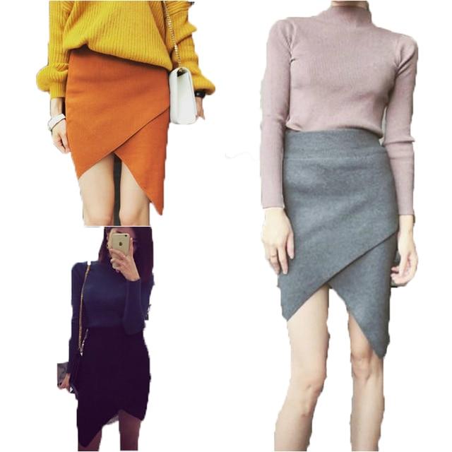 6e694d182cf66 Automne Hiver cachemire Femmes Jupe En Laine En Tricot Côtelé mini Jupe  sexy Faldas Paquet Hanche