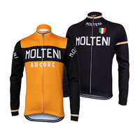 Maillot de cyclisme à manches longues pro team hiver polaire ou mince rétro molteni vêtements de cyclisme Maillot Ciclismomtb/vêtements de vélo de route