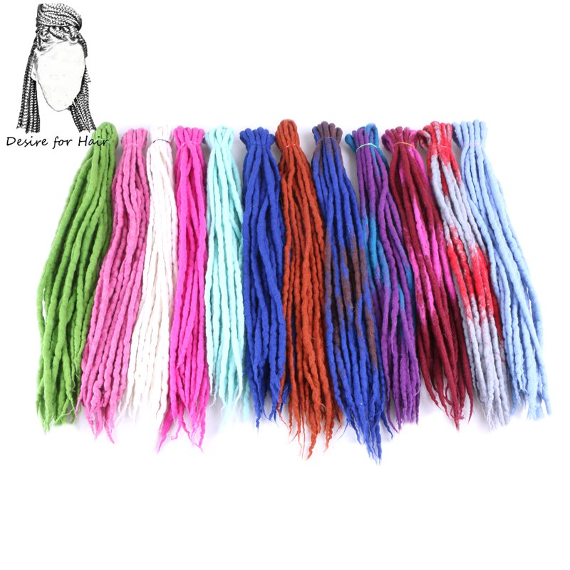 Désir de cheveux 1bundle 10strands 90cm-120cm long Népal dreadlocks en laine feutrée synthétique tresses cheveux pour enfants et adultes
