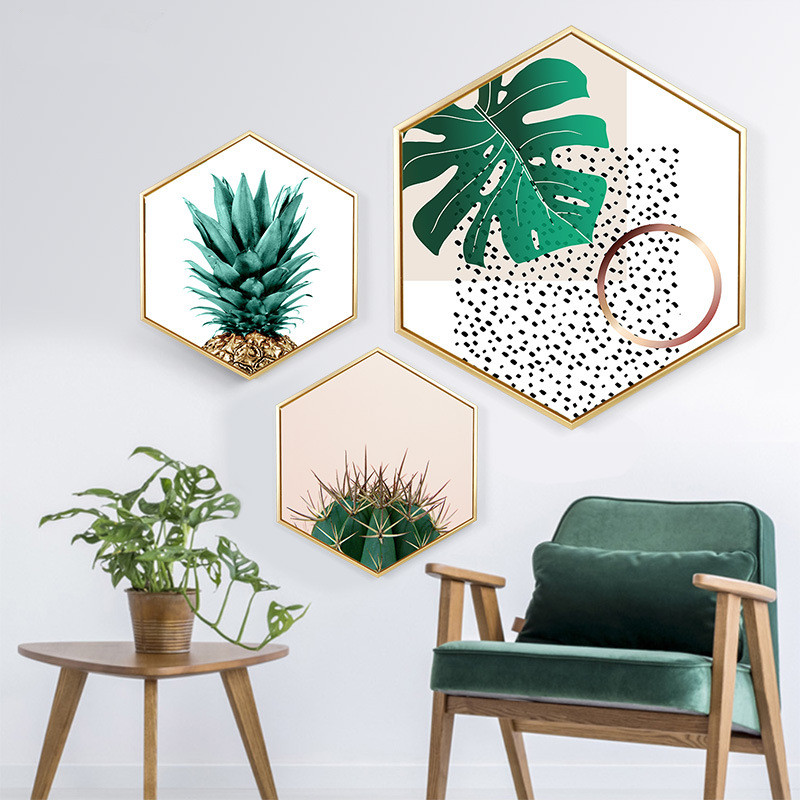 Decorative paintings hexagon Creativity Wall Nordic style green plant leaves Sofa background wall Hanging pictures
