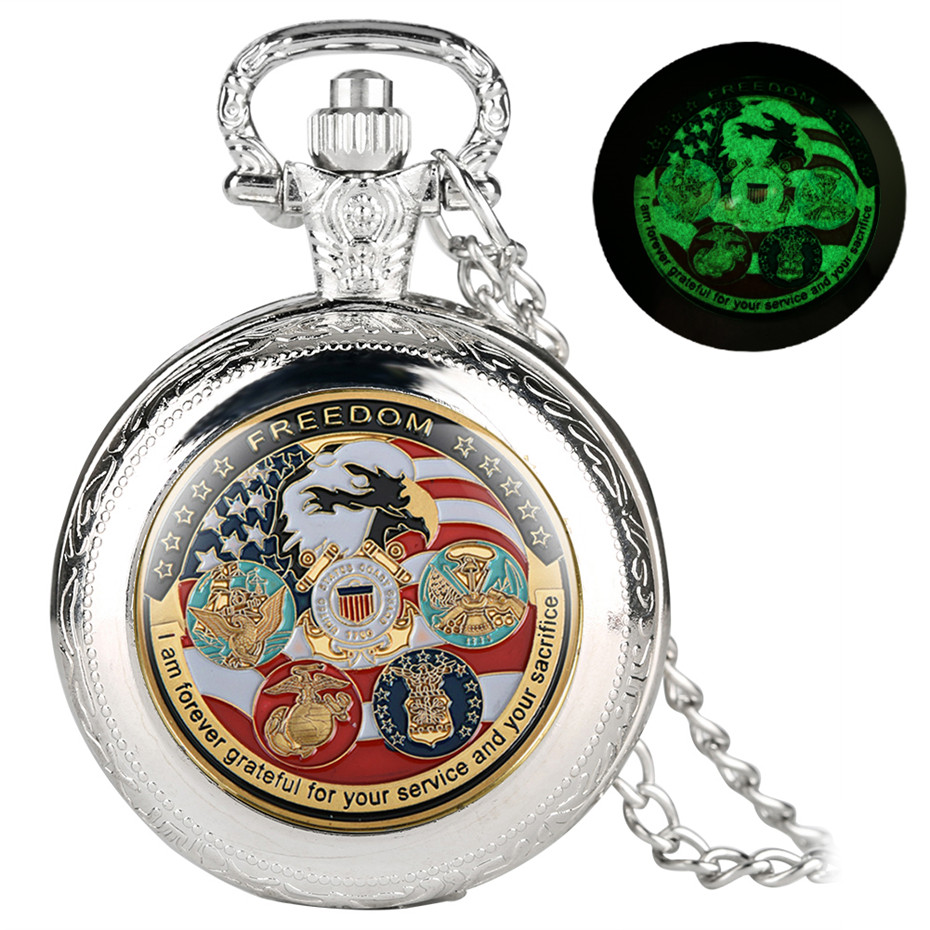Luminous U.S Departments Theme Quartz Pocket Watch Retro Cool Pendant Clock Antique Necklace Watches With 80 Cm Chain