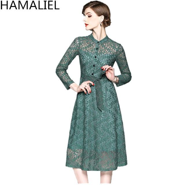 HAMALIEL Elegant Women Lace Party Midi Dress 2018 High Quality Long Sleeve Hollow Out Bow Green Vintage Slim Stand Collar Dress