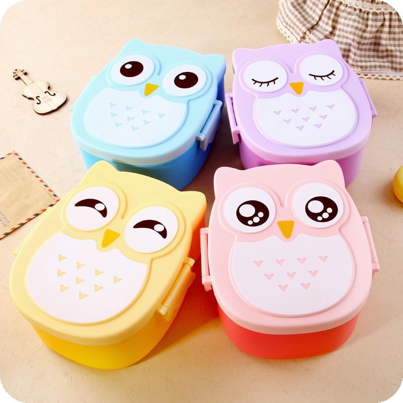 Genuine 1050ml 4 Colors Cartoon Owl Bento Plastic Portable Container Japanese Bento Food Children Dinnerware Wholesale