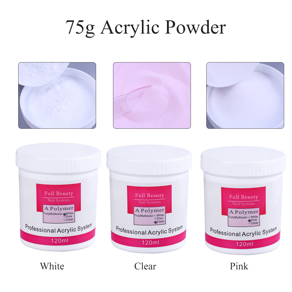 120ml Bottle Acrylic Powder Clear Pink White Color Nail Acrylic Powder Crystal Builder Polymer Dipping for Nail System CH789 (2)