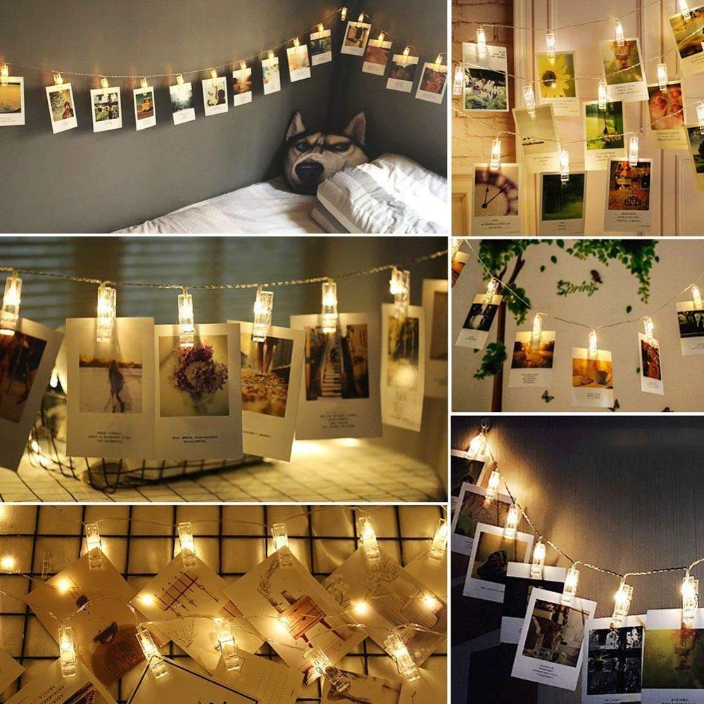 Battery Photo Clip LED String 3M 20LED Clip Light Chain To Hang Photos For Bedroom Christmas Party Decor