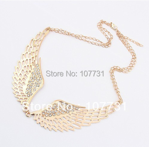 Fashion New Gold Alloy Rhinestone Hollow Angle Wings Love Women Chain Necklaces & Pendants Choker Necklace Vintage Jewelry