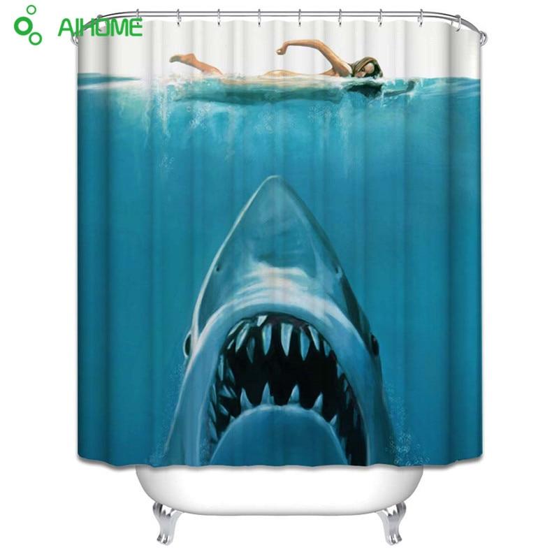 Swimming Sexy Girl The White Shark Shower Curtain 180x180cm/150 * 180 cm Waterproof Polyester Shower Curtain Bathroom Decor