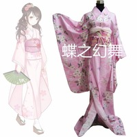 Japanese Women Pink Floral Long Furisode Kimono Traditional Cosplay Costume