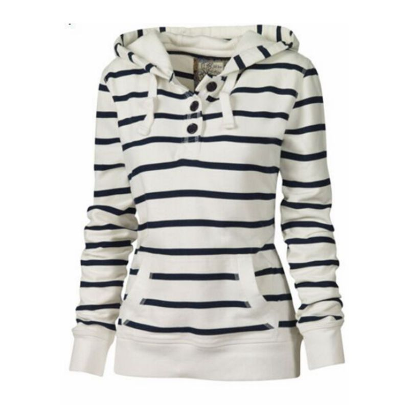 CFYH Hot Sell!High Autumn Quality Cotton Fashion Women Casual Striped Hoodie Sweatshirt Jumper Top Hooded Pullover Plus Size 4XL