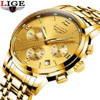 LIGE Top Brand Luxury Mens Watches Fashion Casual Sport Wristwatch Men Date Quartz Clock Man Army